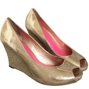 Lilly Pulitzer Gold Pink Metallic Peep Toe Wedges